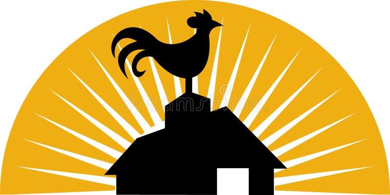 λαλώντας κόκκορας αγρο& διανυσματική απεικόνιση
