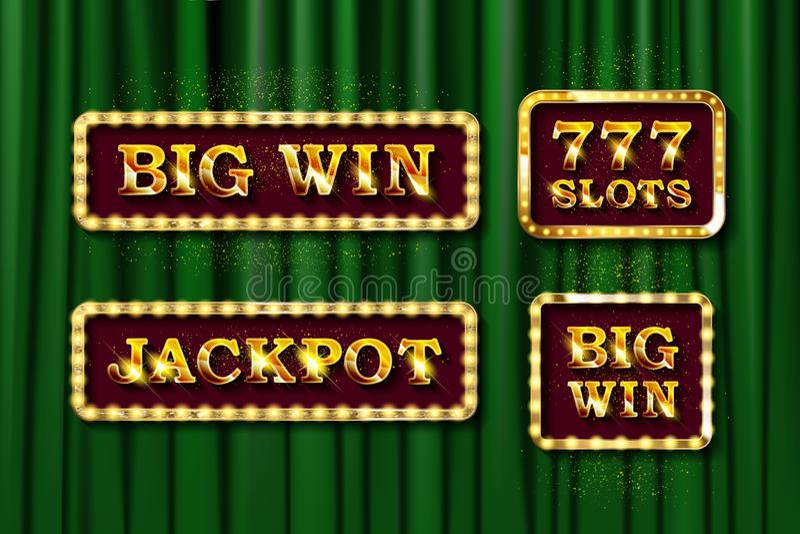 Λαμπερό κείμενο Jackpot, Big Win και 777 υποδοχές διανυσματική απεικόνιση