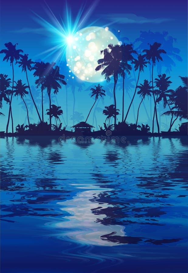 Λαμπερό πανσέληνο στον γαλάζιο νυχτερινό ουρανό με σκούρα φοινικόδεντρα σιλουέτες και αντανάκλαση νερού Πάρτι Vector fullmoon απεικόνιση αποθεμάτων