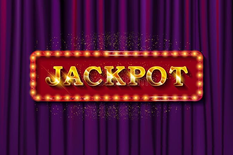 Λαμπερό σήμα παραίτησης Jackpot banner διανυσματική απεικόνιση