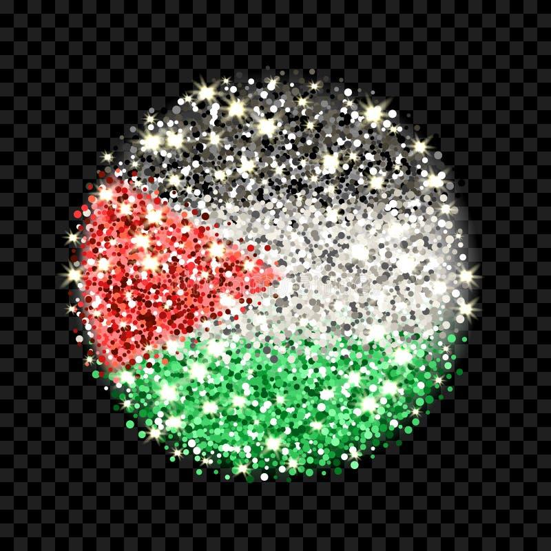 Λαμπιρίζοντας διακριτικό σημαιών της Παλαιστίνης απεικόνιση αποθεμάτων
