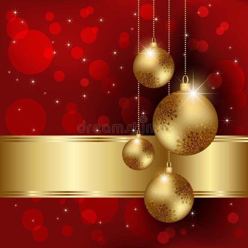 Λαμπιρίζοντας ευχετήρια κάρτα σφαιρών κρυστάλλου Χριστουγέννων απεικόνιση αποθεμάτων