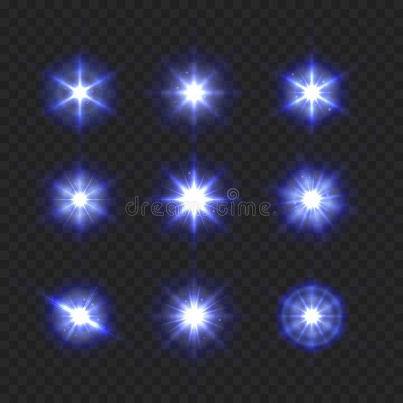 Λαμπιρίζοντας και λάμποντας αστέρια μπλε φωτός που τίθενται στο διαφανές υπόβαθρο διάνυσμα διανυσματική απεικόνιση