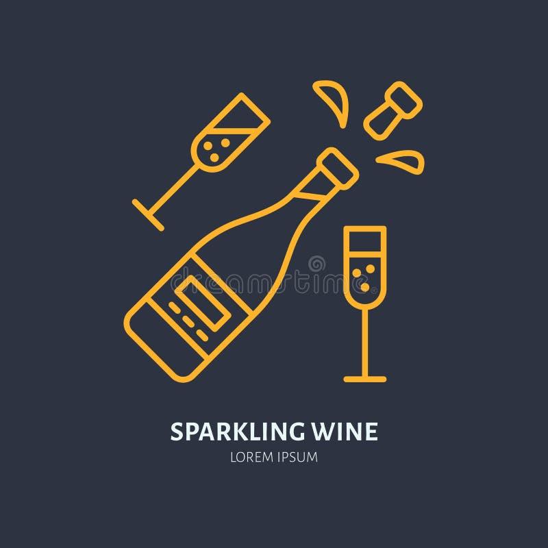 Λαμπιρίζοντας κρασί στο εικονίδιο μπουκαλιών και δύο wineglasses γραμμών Διανυσματικό λογότυπο για το γεγονός εορτασμού Γραμμική  απεικόνιση αποθεμάτων