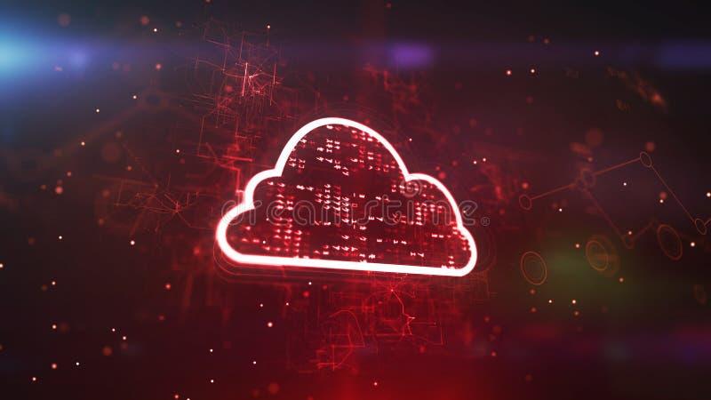 Λαμπιρίζοντας κόκκινο σύννεφο ΚΜΕ Cyber διανυσματική απεικόνιση