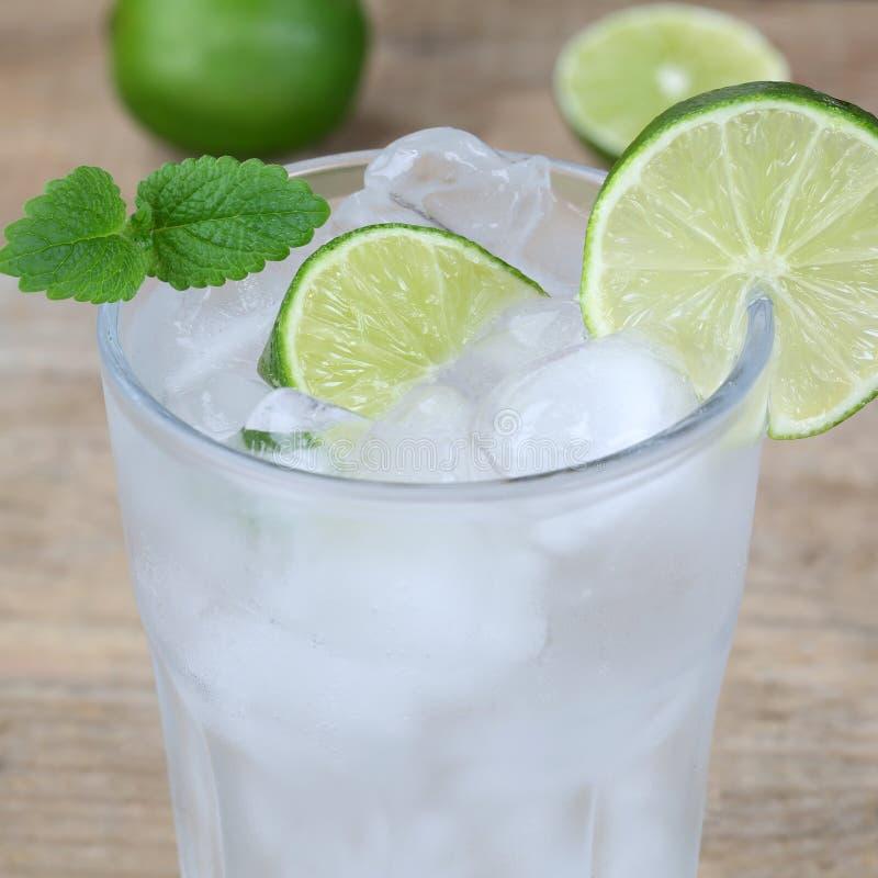 Λαμπιρίζοντας ποτό νερού με τους κύβους πάγου στοκ εικόνες