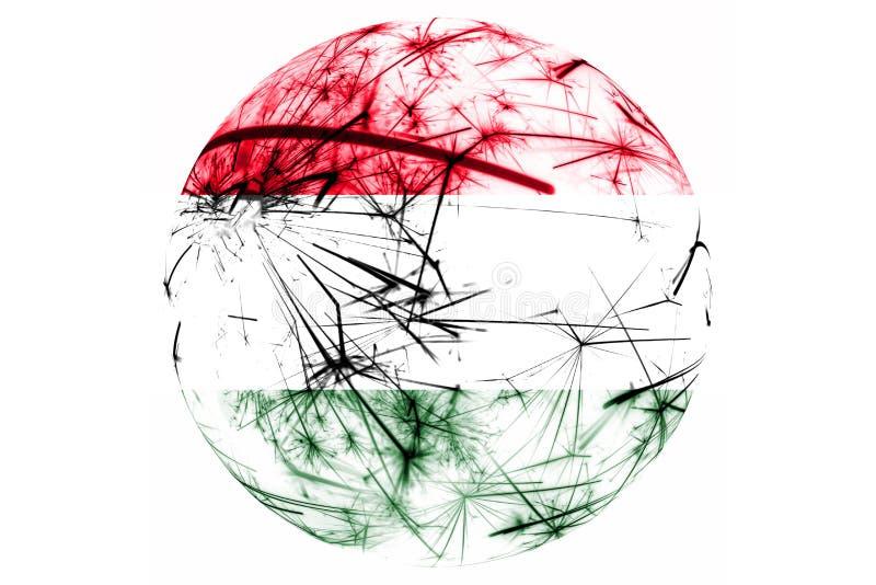 Λαμπιρίζοντας σφαίρα σημαιών πυροτεχνημάτων της Ουγγαρίας Νέο έτος, διακόσμηση Χριστουγέννων και εθνικής μέρας και έννοια διακοσμ ελεύθερη απεικόνιση δικαιώματος