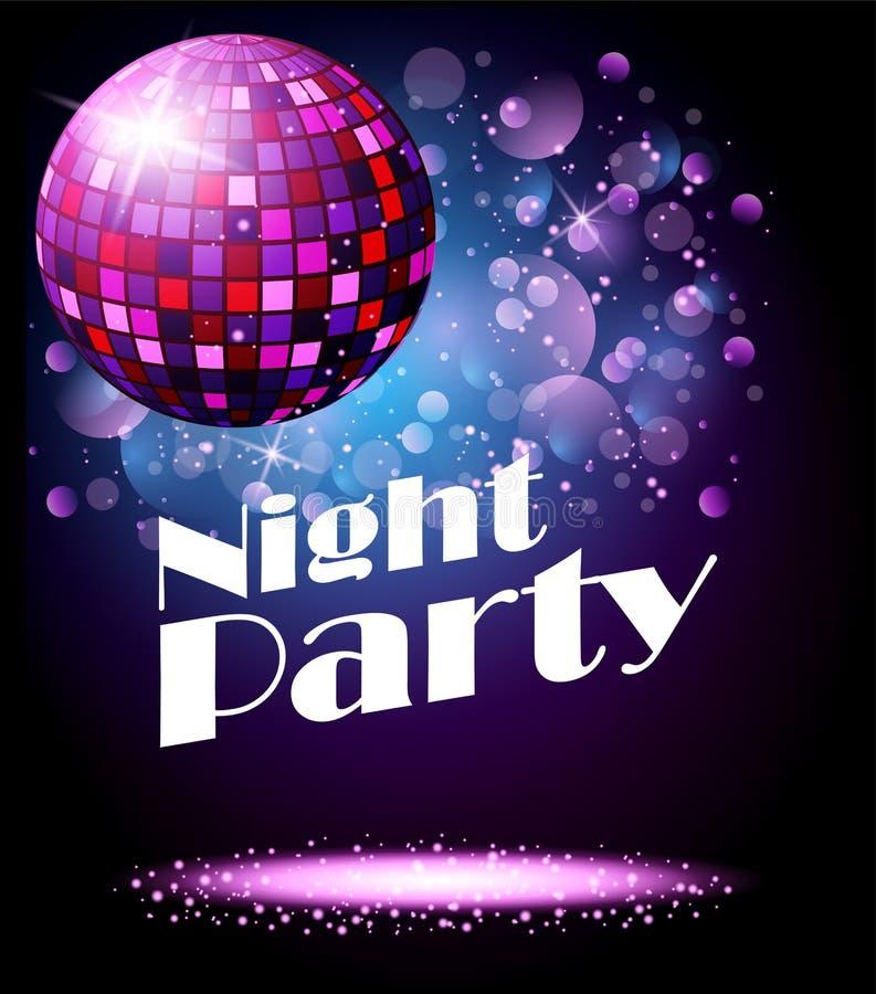 Λαμπιρίζοντας σφαίρα disco Κόμμα νύχτας διανυσματική απεικόνιση