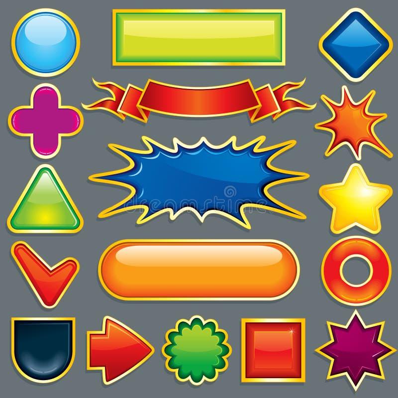 Λαμπρά κουμπιά πώλησης, παφλασμοί, στοιχεία σχεδίου στοκ φωτογραφία