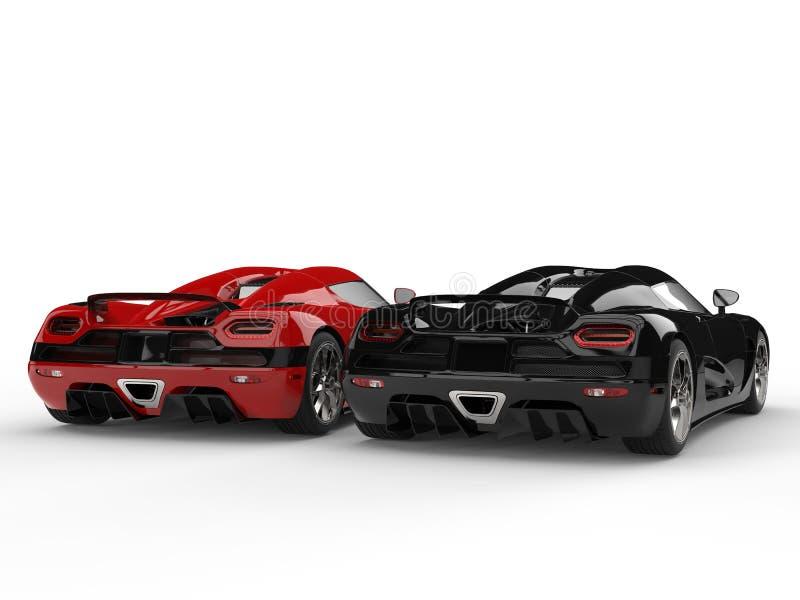 Λαμπρά νέα μαύρα και κόκκινα αυτοκίνητα αθλητικής έννοιας - άποψη πίσω τελών ελεύθερη απεικόνιση δικαιώματος