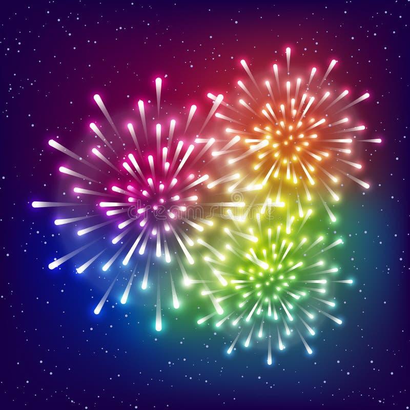 Λαμπρά πυροτεχνήματα ουράνιων τόξων στο έναστρο υπόβαθρο ουρανού για το σχέδιο διακοπών σας απεικόνιση αποθεμάτων