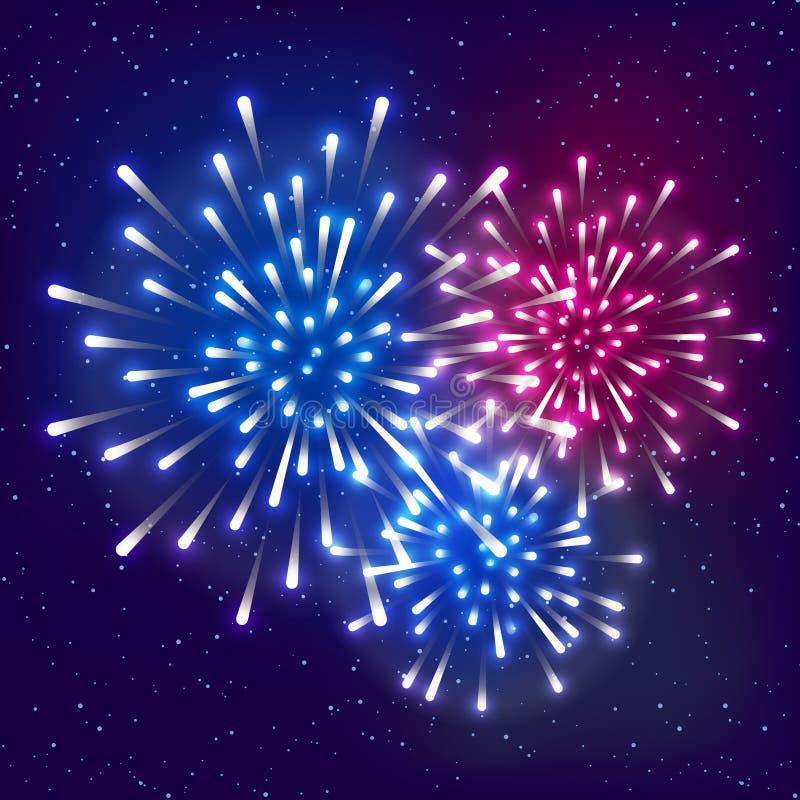Λαμπρά πυροτεχνήματα στο έναστρο υπόβαθρο ουρανού για το σχέδιο διακοπών ημέρας της ανεξαρτησίας απεικόνιση αποθεμάτων