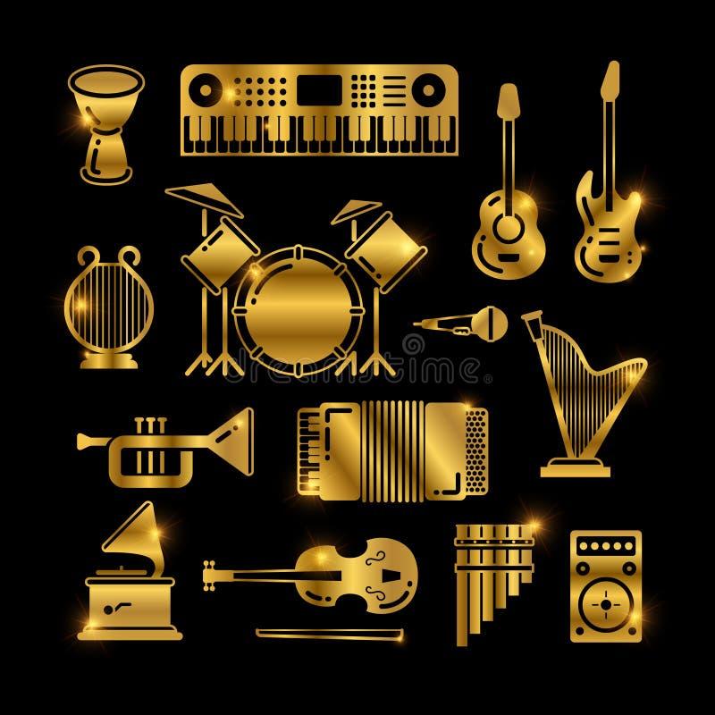 Λαμπρά χρυσά κλασικά όργανα μουσικής, διανυσματικά εικονίδια σκιαγραφιών απεικόνιση αποθεμάτων