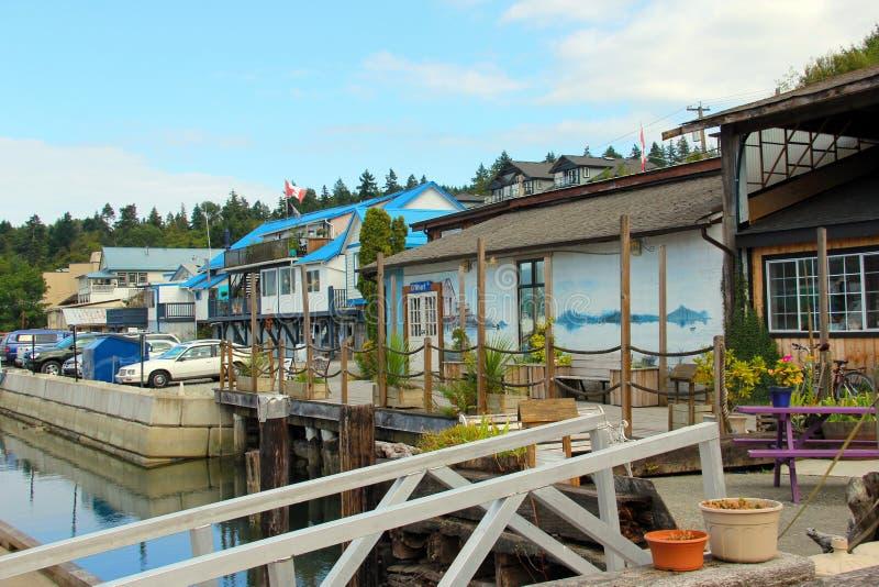 Λαμπρά χρωματισμένα κτήρια, συλλογή βαρκών κόλπων Cowichan στοκ εικόνες με δικαίωμα ελεύθερης χρήσης