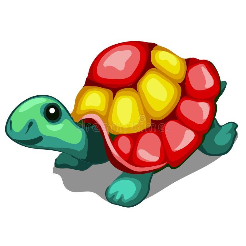 Λαμπρά χρωματισμένο ειδώλιο μιας χελώνας που απομονώνεται σε ένα άσπρο υπόβαθρο Διανυσματική απεικόνιση κινηματογραφήσεων σε πρώτ διανυσματική απεικόνιση