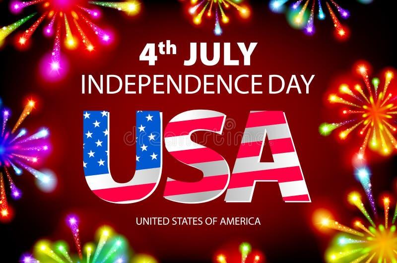 Λαμπρά firecrackers στο κόκκινο και μπλε υπόβαθρο για 4ο του Ιουλίου, αμερικανικοί εορτασμοί ημέρας της ανεξαρτησίας διάνυσμα ελεύθερη απεικόνιση δικαιώματος