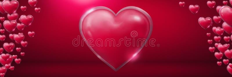 Λαμπρές αφρώδεις καρδιές βαλεντίνων στο ρόδινο δωμάτιο διανυσματική απεικόνιση