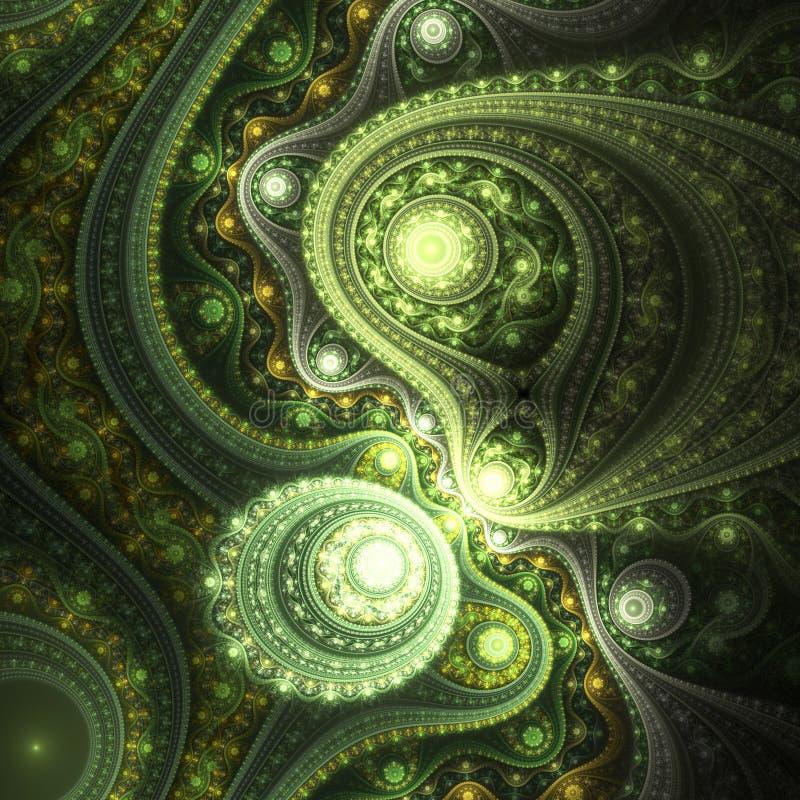 Λαμπρές πράσινες fractal καμπύλες απεικόνιση αποθεμάτων