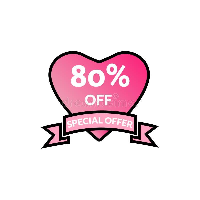 90% λαμπρή αφίσα πώλησης προώθησης έκπτωσης προσφοράς έκπτωσης, έμβλημα, αγγελίες Πώληση ημέρας βαλεντίνων, ετικέττα έκπτωσης δια απεικόνιση αποθεμάτων
