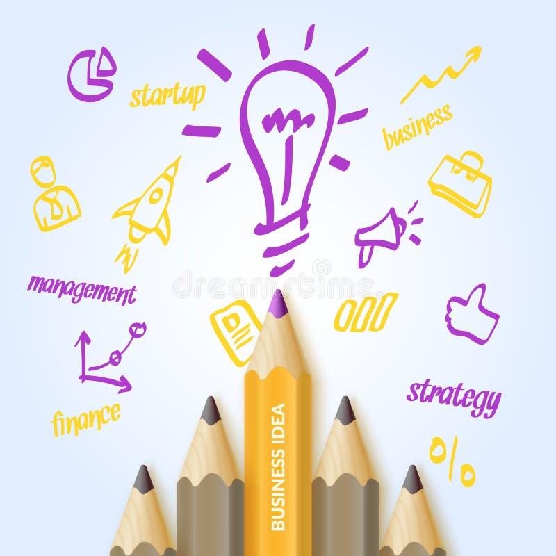 Λαμπρή ζωηρόχρωμη επιχειρησιακή ιδέα αφισών με τα μολύβια και τα σχέδια για το infographics επίσης corel σύρετε το διάνυσμα απεικ ελεύθερη απεικόνιση δικαιώματος