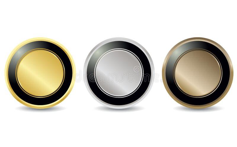 λαμπρή καθορισμένη ετικέττα κουμπιών διανυσματική απεικόνιση