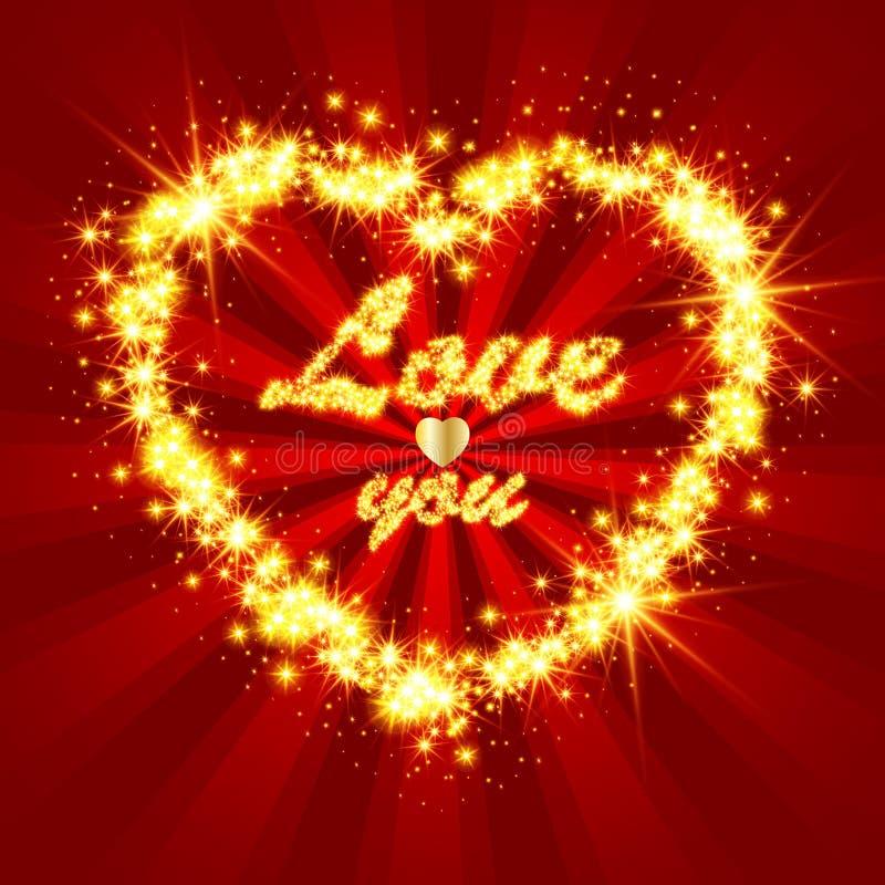 Λαμπρή και λαμπιρίζοντας καρδιά ελεύθερη απεικόνιση δικαιώματος