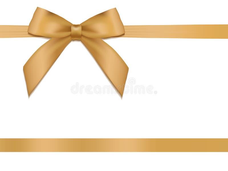 Λαμπρή κορδέλλα σατέν διακοπών χρυσή στο άσπρο υπόβαθρο διανυσματική απεικόνιση