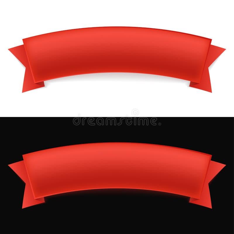 Λαμπρή κόκκινη κορδέλλα στο άσπρο και μαύρο υπόβαθρο με το κενό διάστημα επίσης corel σύρετε το διάνυσμα απεικόνισης ελεύθερη απεικόνιση δικαιώματος