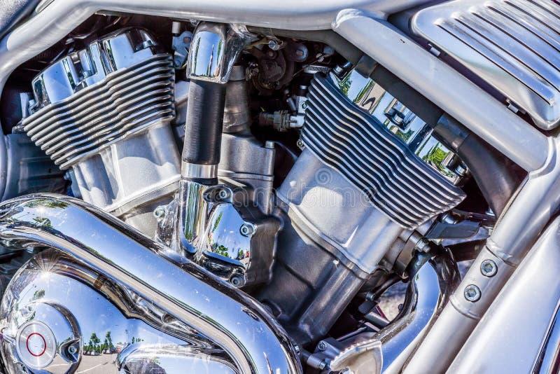 Λαμπρή μηχανή χρωμίου του Harley Davidson στοκ φωτογραφίες με δικαίωμα ελεύθερης χρήσης