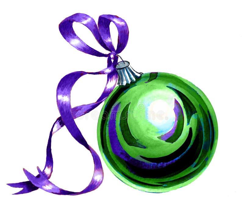 Λαμπρή πράσινη σφαίρα Χριστουγέννων γυαλιού με την πορφυρή κορδέλλα σατέν διανυσματική απεικόνιση