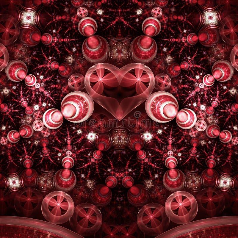 Λαμπρή πράσινη fractal καρδιά διανυσματική απεικόνιση