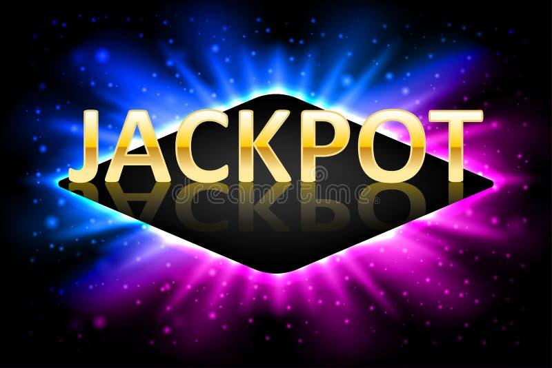 Λαμπρή χρυσή ετικέτα λότο χαρτοπαικτικών λεσχών τζακ ποτ με το πλαίσιο νέου Τυχερό παιχνίδι σχεδίου νικητών τζακ ποτ χαρτοπαικτικ ελεύθερη απεικόνιση δικαιώματος