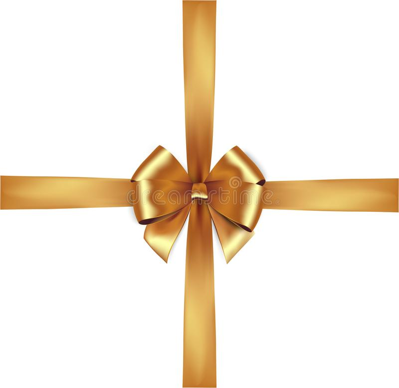 Λαμπρή χρυσή κορδέλλα σατέν Διανυσματικός απομονώστε το χρυσό τόξο διανυσματική απεικόνιση