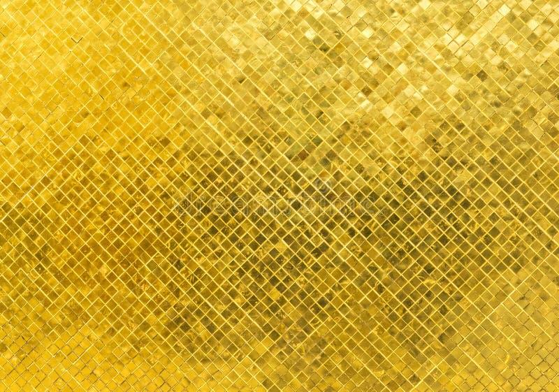 Λαμπρή χρυσή σύσταση υποβάθρου μωσαϊκών σχεδίων γυαλιού κεραμιδιών ορθογωνίων τόνου πολυτέλειας στοκ εικόνες με δικαίωμα ελεύθερης χρήσης