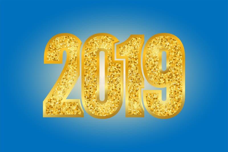 Λαμπρός χρυσός αριθμός 2019 καλής χρονιάς Χρυσός ακτινοβολήστε ψηφία που απομονώνονται στο μπλε υπόβαθρο Λαμπρό σχέδιο πυράκτωσης απεικόνιση αποθεμάτων