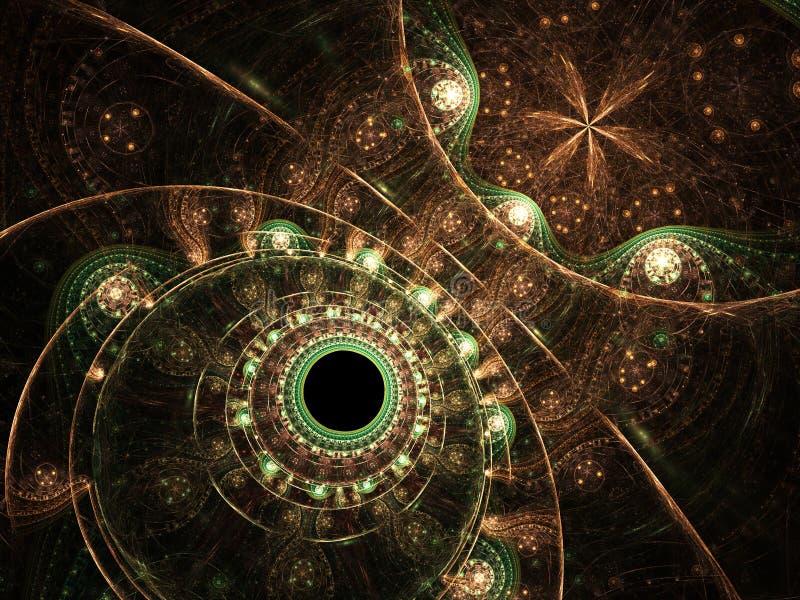 Λαμπρός χρυσός και πράσινος fractal μηχανισμός απεικόνιση αποθεμάτων