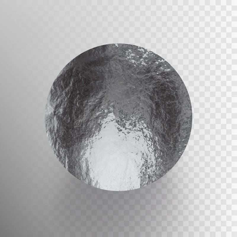 Λαμπρός, sparkly ασημένιος φύλλων κύκλος διανυσματικής απεικόνισης αποθεμάτων Σύσταση φύλλων αλουμινίου μετάλλων που απομονώνεται διανυσματική απεικόνιση
