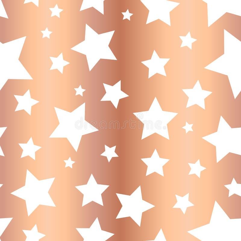 Λαμπρό άνευ ραφής διανυσματικό σχέδιο αστεριών φύλλων αλουμινίου χαλκού Άσπρες μορφές αστεριών στο ροδαλό χρυσό υπόβαθρο Χρυσός ν ελεύθερη απεικόνιση δικαιώματος