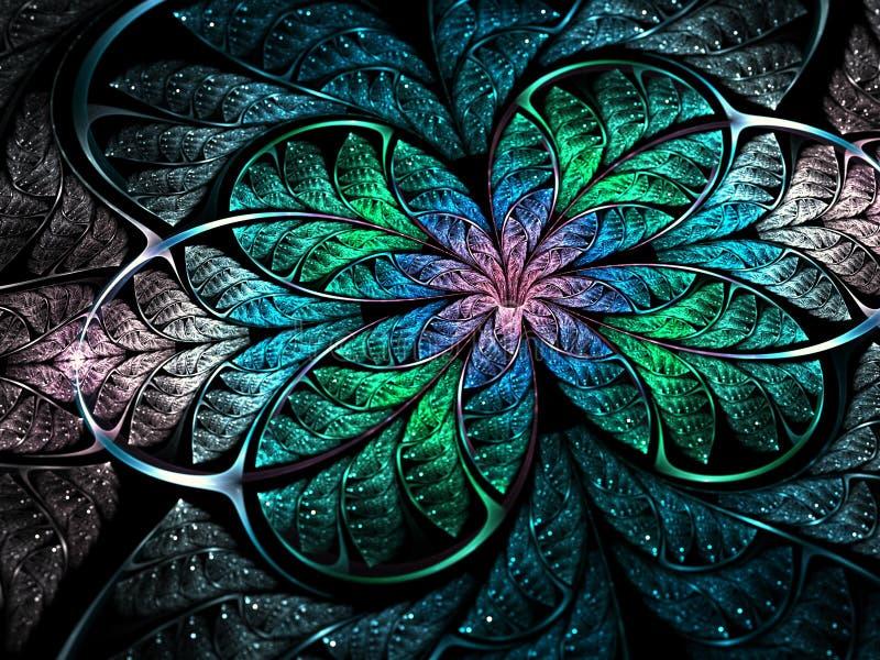 Λαμπρό ακτινοβολώντας fractal λουλούδι, ψηφιακή τέχνη απεικόνιση αποθεμάτων