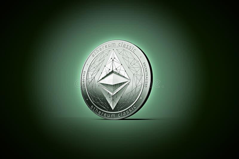 Λαμπρό ασημένιο νόμισμα έννοιας Ethereum κλασικό σε ήπια αναμμένη σκοτεινή GR διανυσματική απεικόνιση