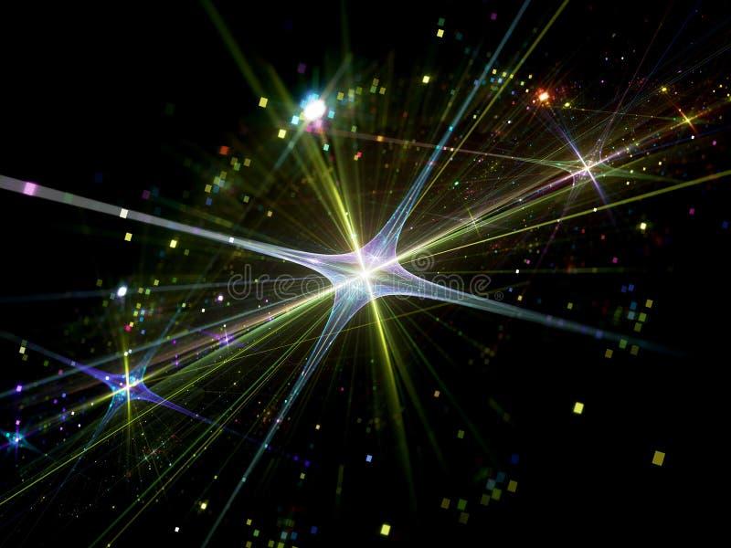 Λαμπρό αστέρι με τα μόρια στο διάστημα στοκ εικόνα με δικαίωμα ελεύθερης χρήσης