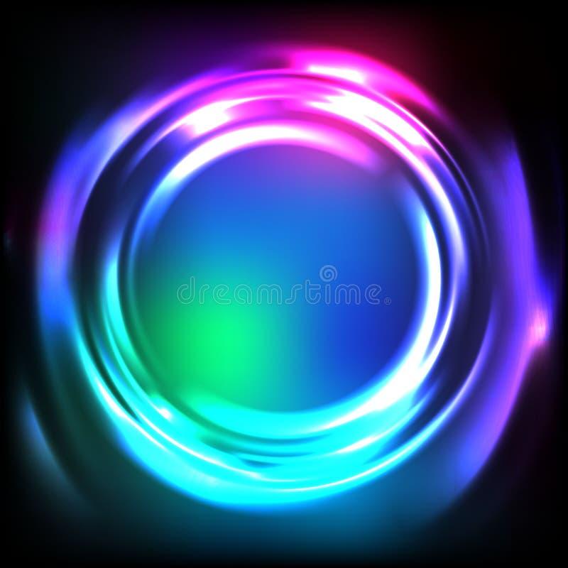 Λαμπρό αφηρημένο υπόβαθρο νέου Διανυσματικός καμμένος κυματισμός νερού Ζωηρόχρωμο πλαίσιο κύκλων στο σκοτάδι διανυσματική απεικόνιση