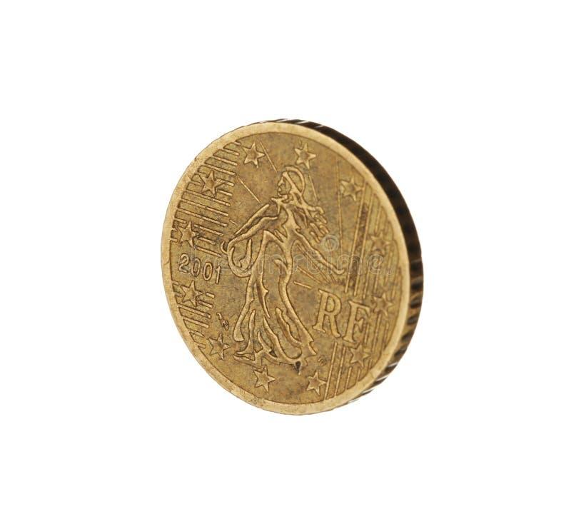 Λαμπρό ευρο- νόμισμα σεντ στο λευκό στοκ εικόνες