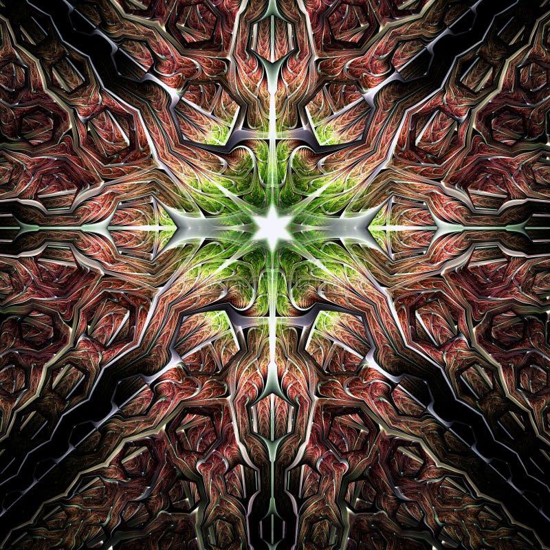 Λαμπρό ζωηρόχρωμο fractal αστέρι απεικόνιση αποθεμάτων