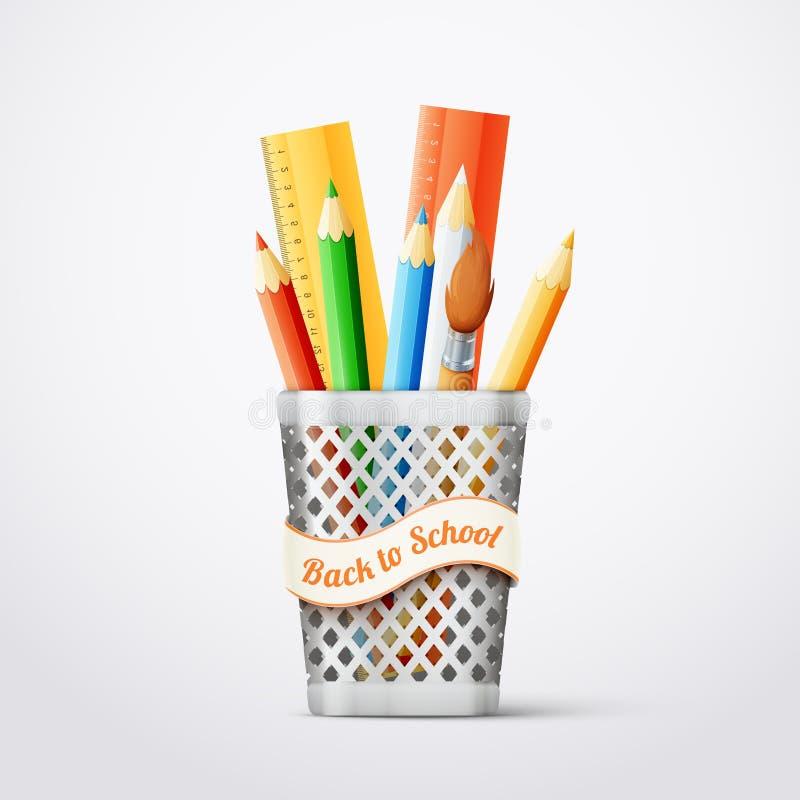 Λαμπρό μέταλλο backet με τα σχολικά εργαλεία στοκ εικόνα με δικαίωμα ελεύθερης χρήσης