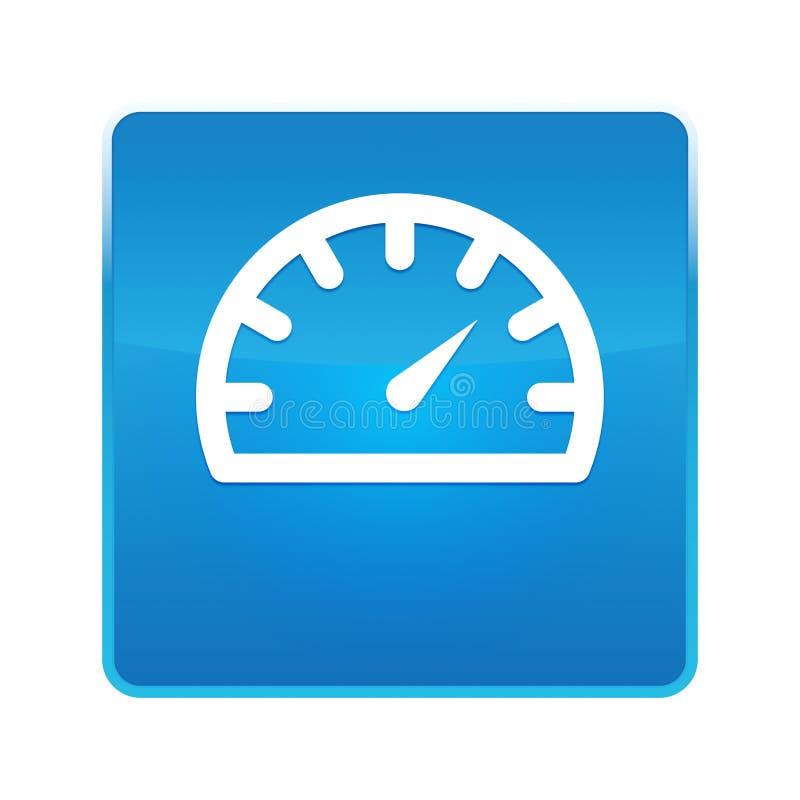 Λαμπρό μπλε τετραγωνικό κουμπί εικονιδίων μετρητών ταχυμέτρων απεικόνιση αποθεμάτων