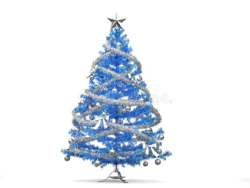 Λαμπρό μπλε χριστουγεννιάτικο δέντρο με ασημένιες tinsels και τις διακοσμήσεις ελεύθερη απεικόνιση δικαιώματος
