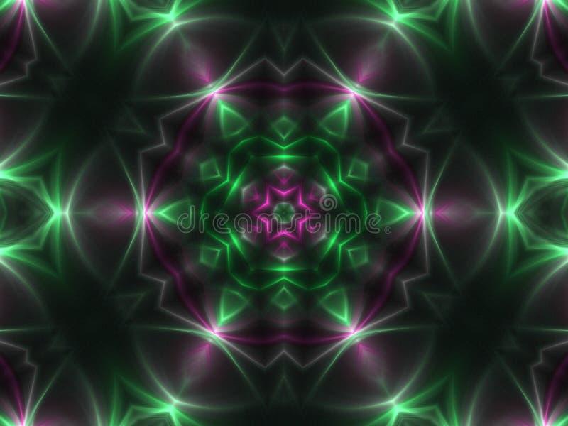 Λαμπρό σκούρο πράσινο fractal mandala απεικόνιση αποθεμάτων
