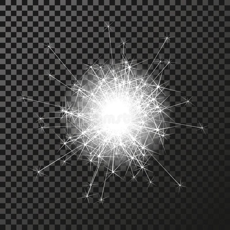 Λαμπρό σύμβολο sparkler στο σκοτεινό υπόβαθρο - sizzling σπινθηρίσματα, αστρική φλόγα διαφάνειας Να λάμψει αντανακλάσεις απεικόνιση αποθεμάτων
