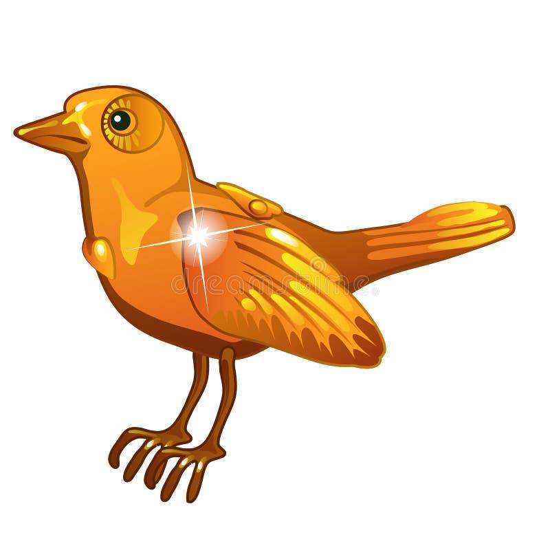 Λαμπρό χρυσό ειδώλιο πουλιών Διακοσμητικό αντικείμενο του πολύτιμου μετάλλου στο ύφος κινούμενων σχεδίων που απομονώνεται στο άσπ ελεύθερη απεικόνιση δικαιώματος